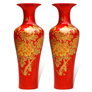 chinese porcelain decoration ceramic luxury tall floor red big flower vase