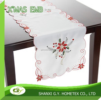 christmas poinsetta embroidery polyester table cloth,table runner, table topper