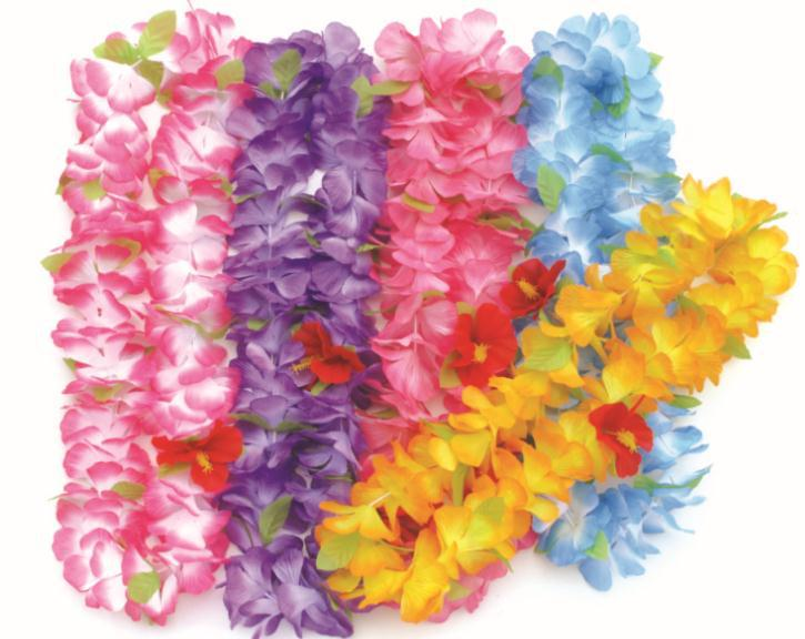 product hawaiian necklace flower decoration theme lei luau summer wreath leis hawaii garland store beach party silk hula