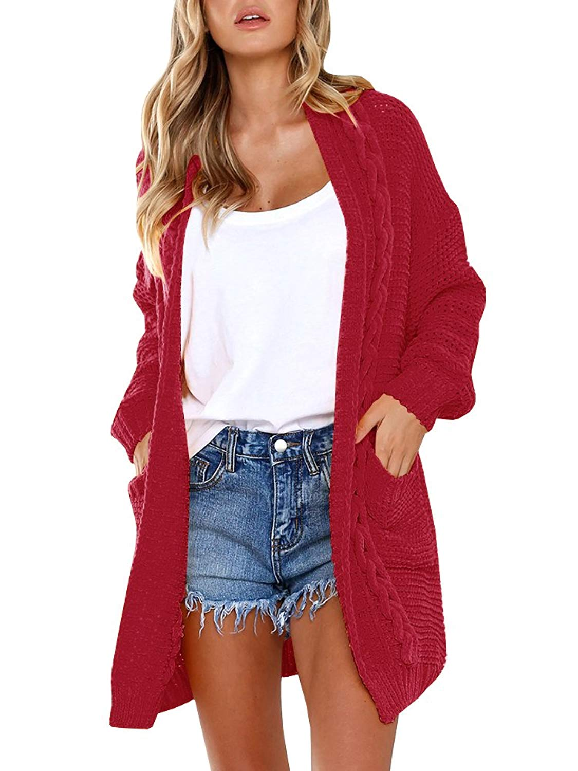 f24e203eec Get Quotations · Imily Bela Womens Bohemian Knitted Ope Front Sweater  Slouchy Pocket Cardigan Outfit