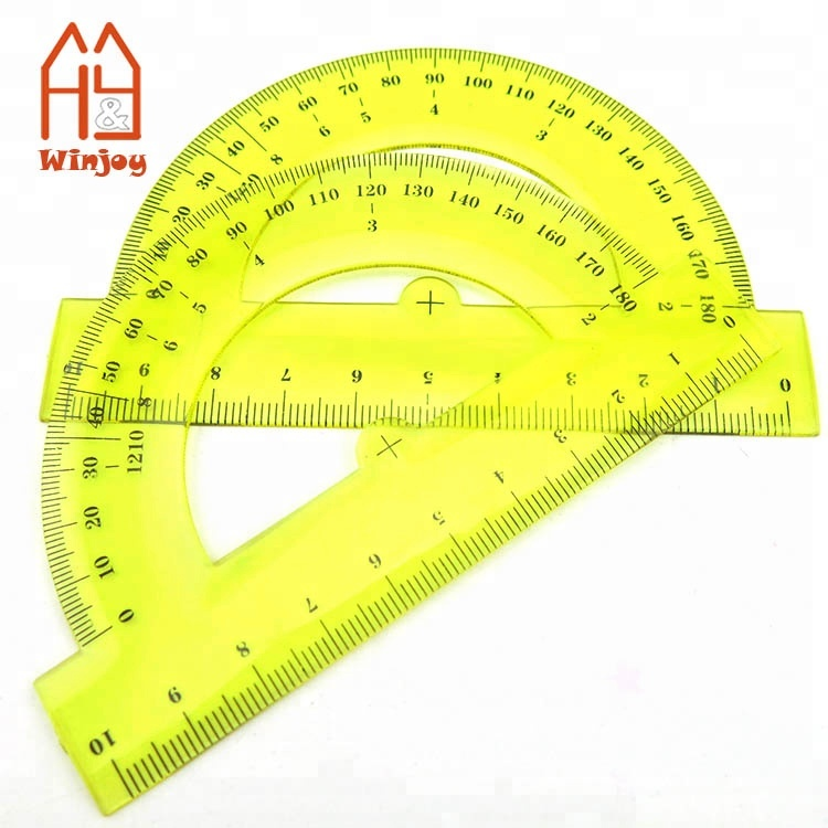 WINJOY Plastic Protractor, 180 Degrees Protractor for Angle Measurement Student Math, Clear Color School Supplies