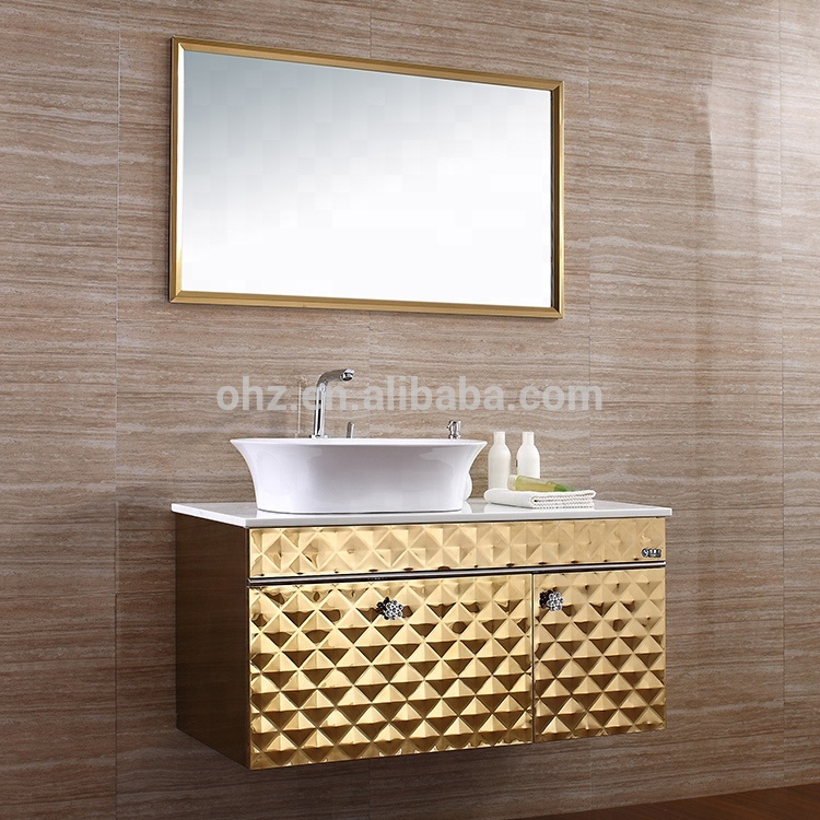 Jqs Gold Pattern Stainless Steel Bathroom Vanity Top Cabinet