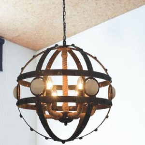Industrial Vintage Lighting Metal and Hemp Rope Chandelier for Hotel Decoration