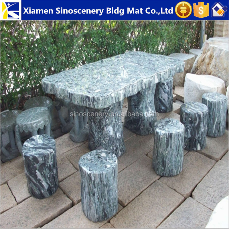 China ocean wave green granite landscape stone table for sale