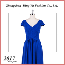alibaba marine blue floor length cap sleeve pleats v-neck A-line evening dress