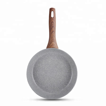 Popular forged stone coating  frying pan with wooden handle