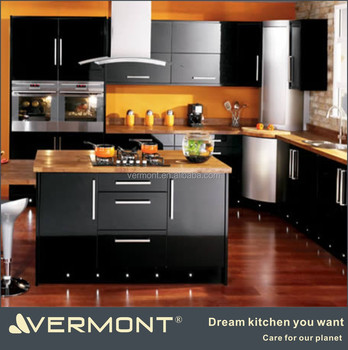 2017 luxury high gloss black kitchen cabinet buy modern for High gloss black kitchen cabinets