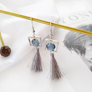 Fashion Designs Jewelry Square Metal Glass Thread Tassel Earrings For Women