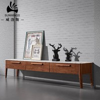 marble top and solid wood modern style TV cabinet living room furniture