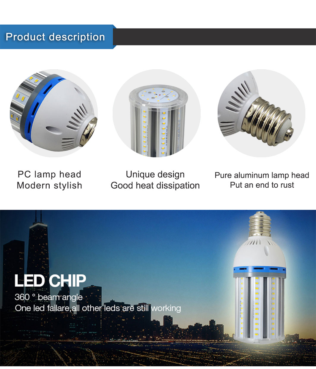 new 2019 trending product E27/E40 22W LED Lamp Corn Bulb raw material for outdoor lighting canopy high bright Led lights
