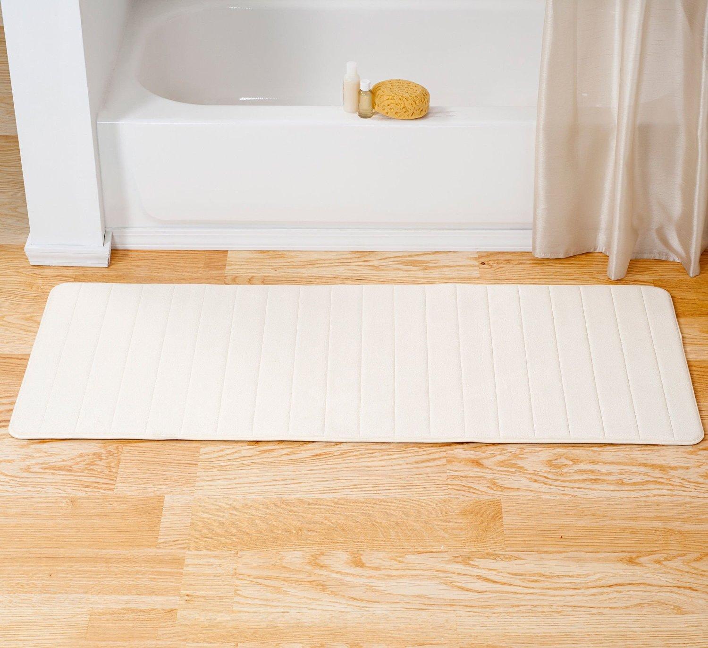Buy Single Piece White Memory Foam Striped Bath Mat Rug Machine
