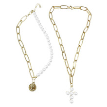 Chunky gold filled infinity sideways pendente dainty <span class=keywords><strong>collana</strong></span> piccola croce rosa della perla delle donne <span class=keywords><strong>di</strong></span> croce <span class=keywords><strong>collana</strong></span>