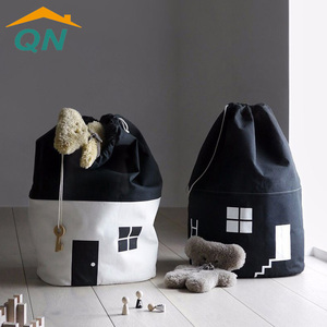 Small house bundle collection bag black and white canvas toy storage bag children's room decoration bag