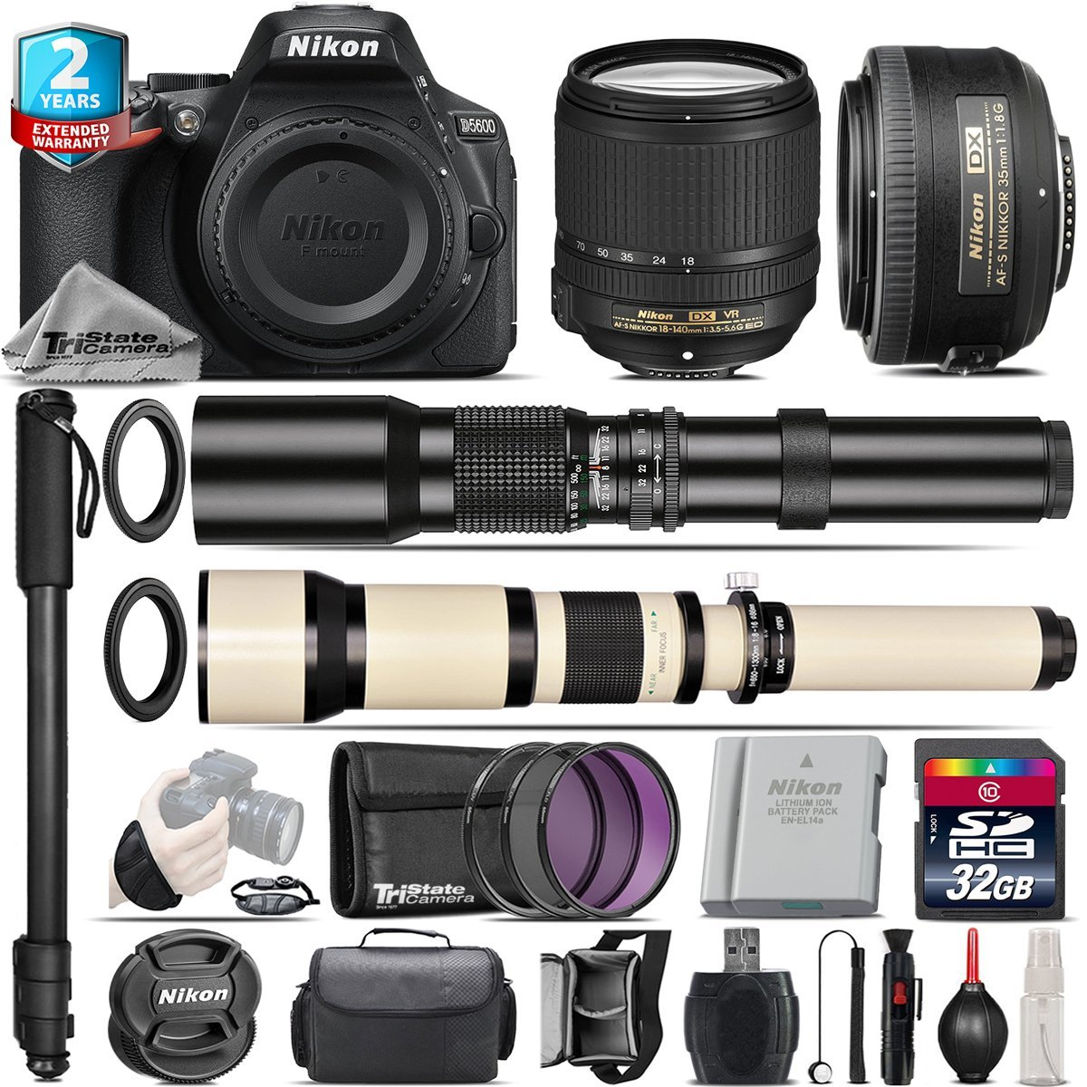 Holiday Saving Bundle for D5600 DSLR Camera + 18-140mm VR Lens + 35mm 1.8G DX Lens + 650-1300mm Telephoto Lens + 500mm Telephoto Lens + 2yr Extended Warranty + 32GB Class 10 - International Version