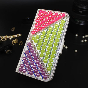 Candy Color Pearl Custom Bling Bling Leather Flip Case For Vodafone Smart Ultra 7