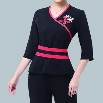 Ladies slim fit fashion design spa uniforms beauty salon for Spa uniform alibaba