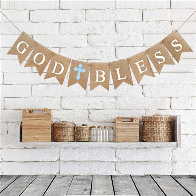 2.8M GOD BLESS Letters Burlap Forked Tail Banners Garland Bunting Flags For <strong>Baby</strong> Shower Birthday Christening Baptism Party Decor