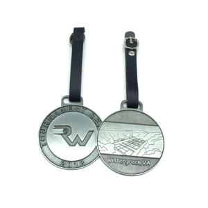 Hot Sales Promotional Custom Brand Logo Enamel Coated Zinc Alloy Lapel Pin/ Metal Tag/ Medal With PU Strap