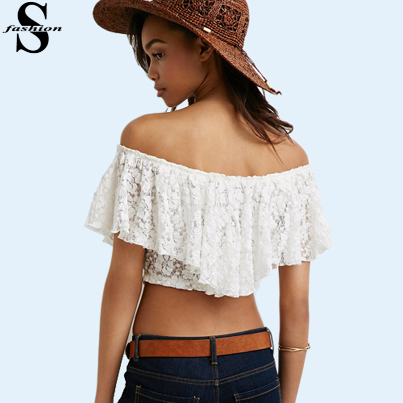 0be6d7baa06 Buy New Sexy Women Lace Short Blouse Slash Neck Off Shoulder Ruffle Crop Top  Summer Bandage White Mini Blouses Shirt CJE0711 in Cheap Price on  Alibaba.com