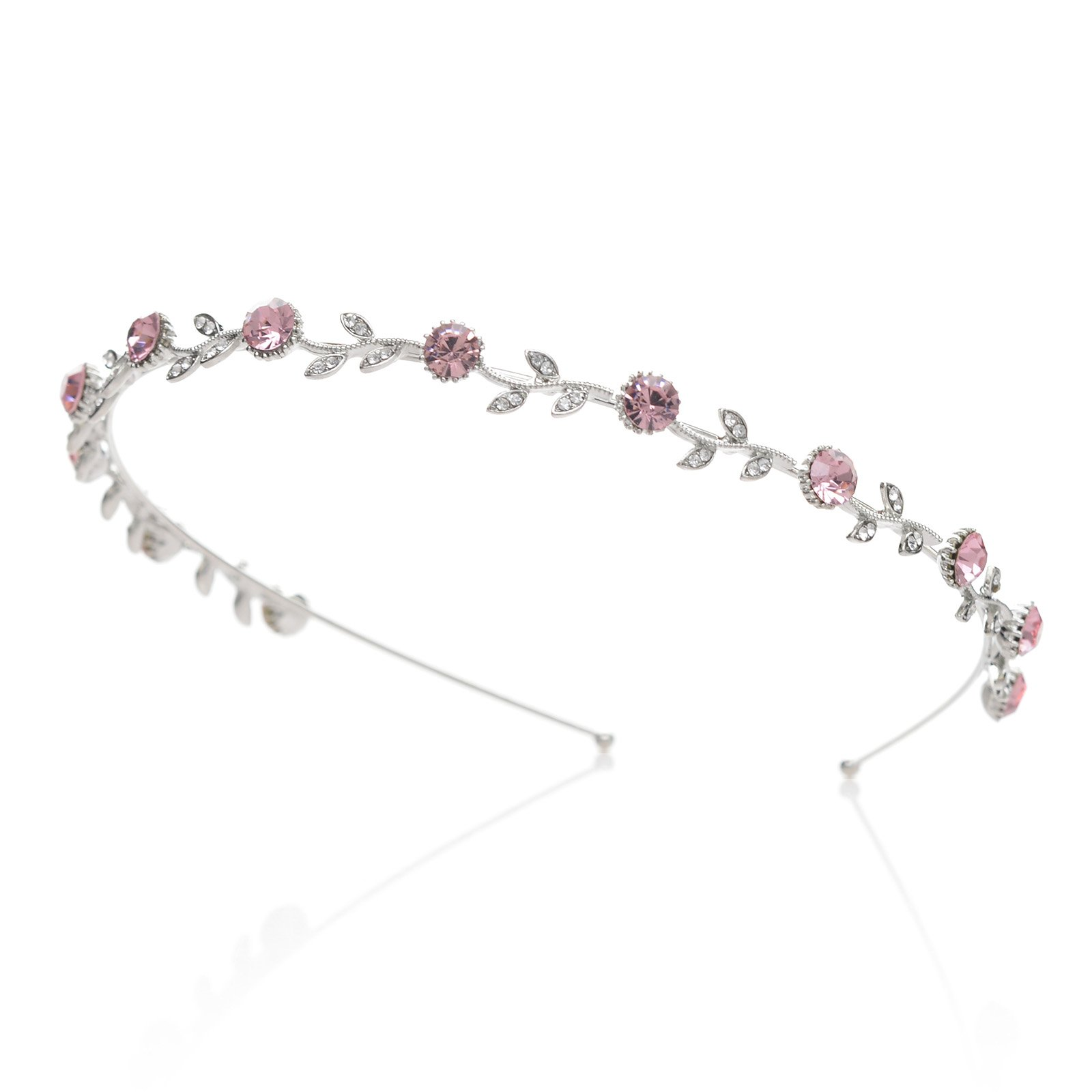 SWEETV Wedding Headband Rhinestone Hair Band Bridal Headpieces, Pink Crystal Silver Plated