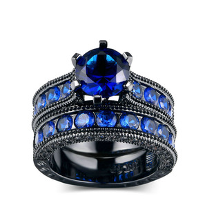 Funny engagement rings blue cubic zirconia rings set
