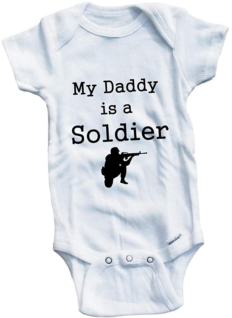 Baby Tee Time Boys My Daddy is a Soldier One piece