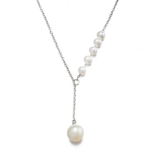 new fashion link cable chain silver tone modern imitation white acrylic pearl jewelry design pendant Y lariat necklace