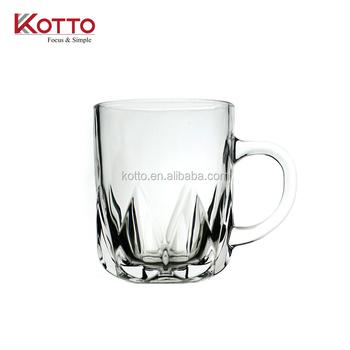 200ml Clear Carving Gl Coffee Mug Tea Water Juice Milk Cups With Handle