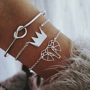 3 Pcs/ Set Fashion Hollow Elephant Crown Knotted Silver Opening Multilayer Cuff Bracelet Set (Kb8111)