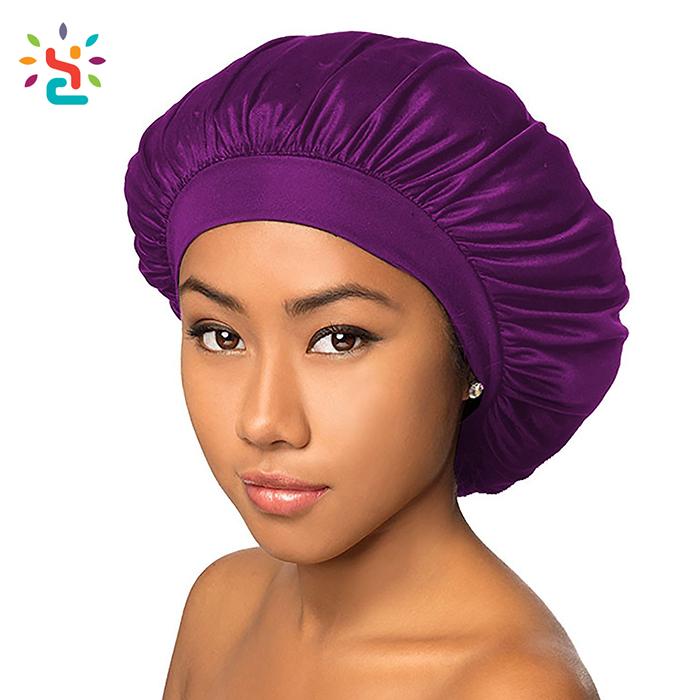 Natural silk hair bonnet elastic band sleeping bonnet custom logo plain blank solid color women satin bonnet фото