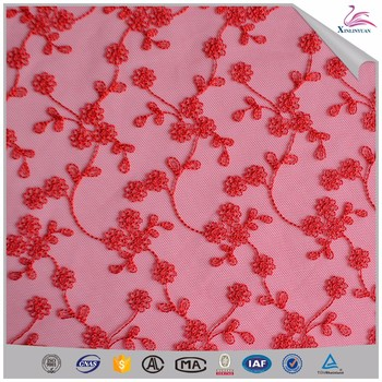 2019 Red african embroidery net lace dress making fabrics