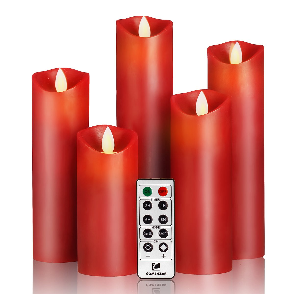 """Flameless Candles- Flickering Flameless Candles Red Color LED Candles Set 5"""" 6"""" 7"""" 8"""" 9"""" Battery Candles Real Wax with10-key Remote Control Timer Candle Flameless - 2/4/6/8 Hours Timer comenzar"""