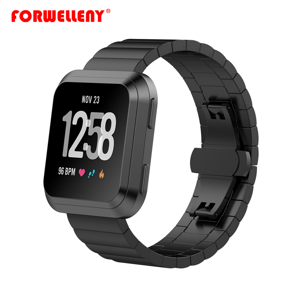 Stainless Steel Fitbit Versa Band For Fitbit Versa Smart Wristband 23mm Luxury Metal Strap Watchband Butterfly Buckle фото