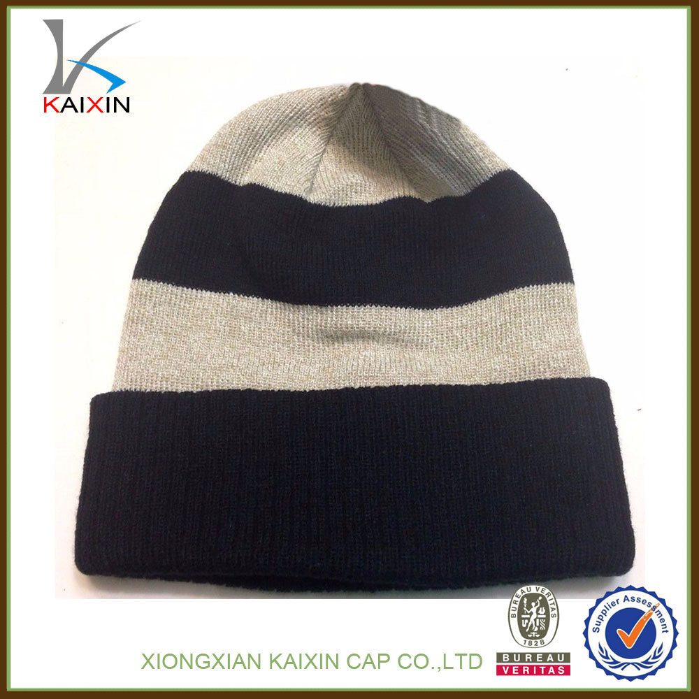 Fashional Custom Strip Design muslim knit caps slouch beanie hat