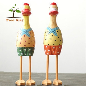 Pine Animals Wood Carving Household Couple Ducks Retro Office Decoration Painted Wooden Duck Wholesale Art And Craft