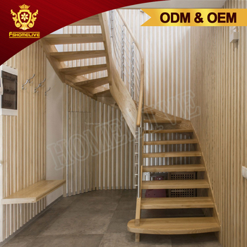 Prefabricated Indoor Steel Staircase Wooden Floating Indoor Curved Staircase