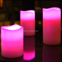 outdoor flameless pillar Flicking battery LED candles with timer