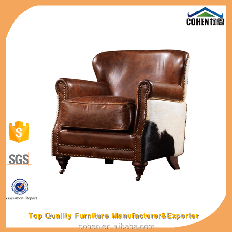 Luxury European style 100% genuine cowhide leather classic armchair/antique armchair/bedroom armchair hot selling