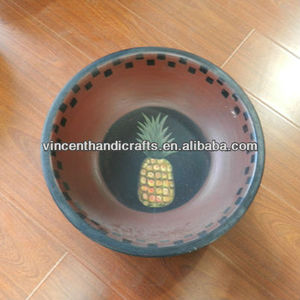 Rustic antique primitive wooden bowl with pineapple painted