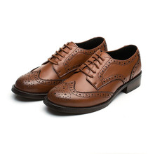Perforata delle <span class=keywords><strong>donne</strong></span> Lace-up Wingtip Oxford Vintage Oxford Brogue Scarpe In Pelle Piatta