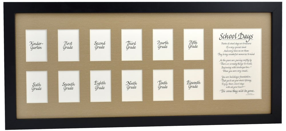 Buy School Picture Frame 10x24 Black Frame Burlap Mat With