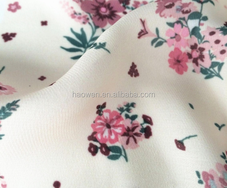 2 layers composition 100% polyester printed twill chiffon fabric price per metre