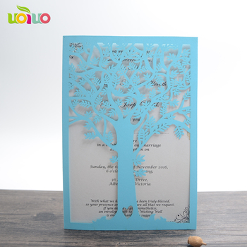 latest love tree shaped laser cut unique wedding invitation cards