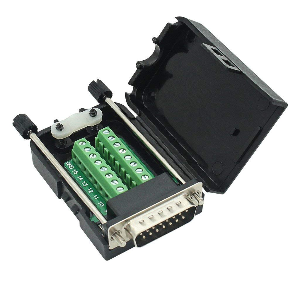 DB15 breakout Connector Male Adapter 15-pin Port Adapter to Terminal Connector Signal Module With case(Male Connector, Screw With case)