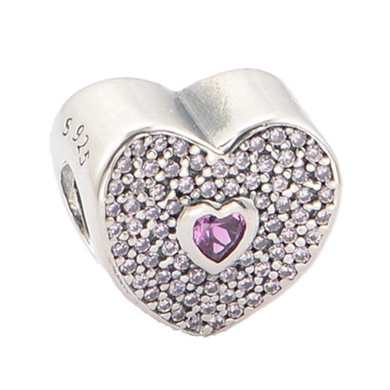 Sweetheart Charm with Fancy Pink and Pink Cubic Zirconia Authentic 925 Sterling Silver Fits Pandora Bracelets& Bangles