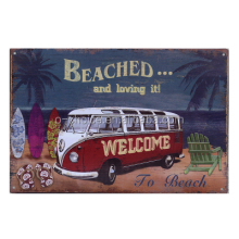 Beached and Living it Modern Decor Wall Tin Sign