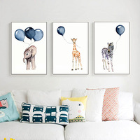 Animal giraffe Elephant Zebra Canvas painting Wall art Picture for Baby Nursery Living Room