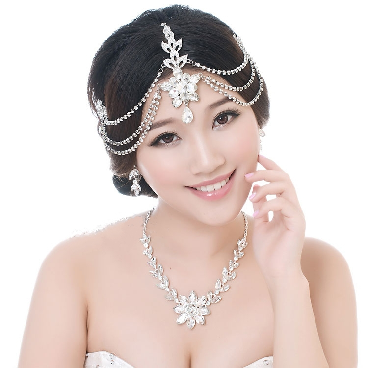 Rhinestone Chain Hairband Forehead Jewelry Tiara Noiva Crown Wedding Hair Accessories Casamento Joias Bijoux Cheveux WIGO0223