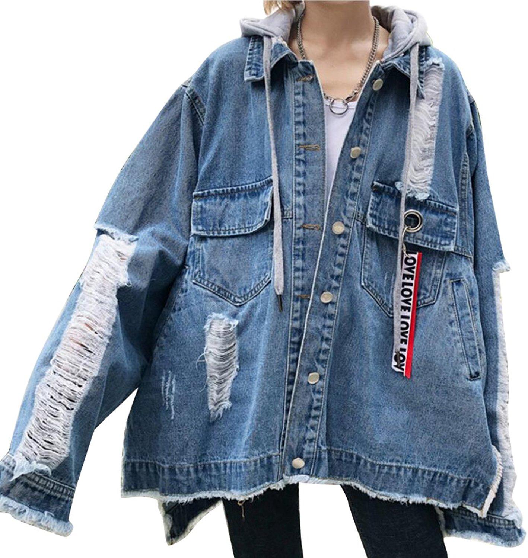 ARTFFEL-Women Hip Hop Washed Button Up Ripped Hole Denim-jackets