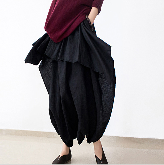 981cb9f9015 Get Quotations · 2015 New Summer and Autumn Black Linen Pants Female Loose  Original Desigual Pants Skirts Plus Size